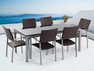 Ensemble de jardin - Table granit 180 cm et 6 chaises en ...