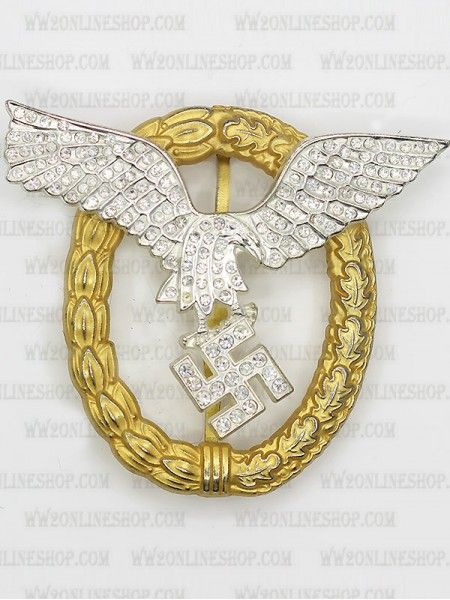 Replica of Pilot/Observer Badge in Gold with Diamonds for
