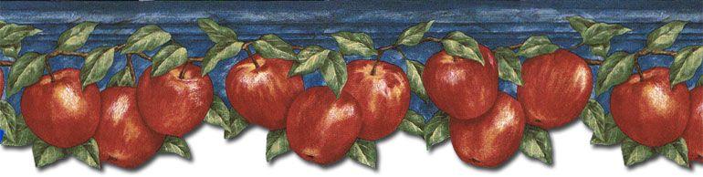 Kitchen Red Apples Blue Wallpaper Border Gs96025db Red Apple Blue Wallpapers Wallpaper Border