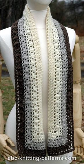 Free crochet pattern: Snowy Evening Bobble Scarf by ABC Knitting ...