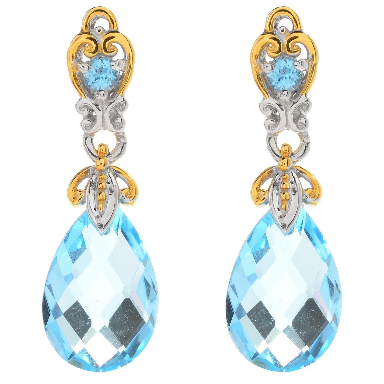 Michael Valitutti Palladium Silver Swiss Blue Topaz Briolette Drop Earrings
