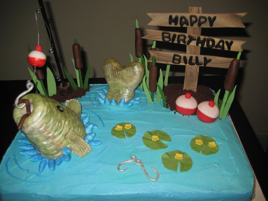 Fish cake hunting and fishing cakes pinterest for Fishing themed cakes