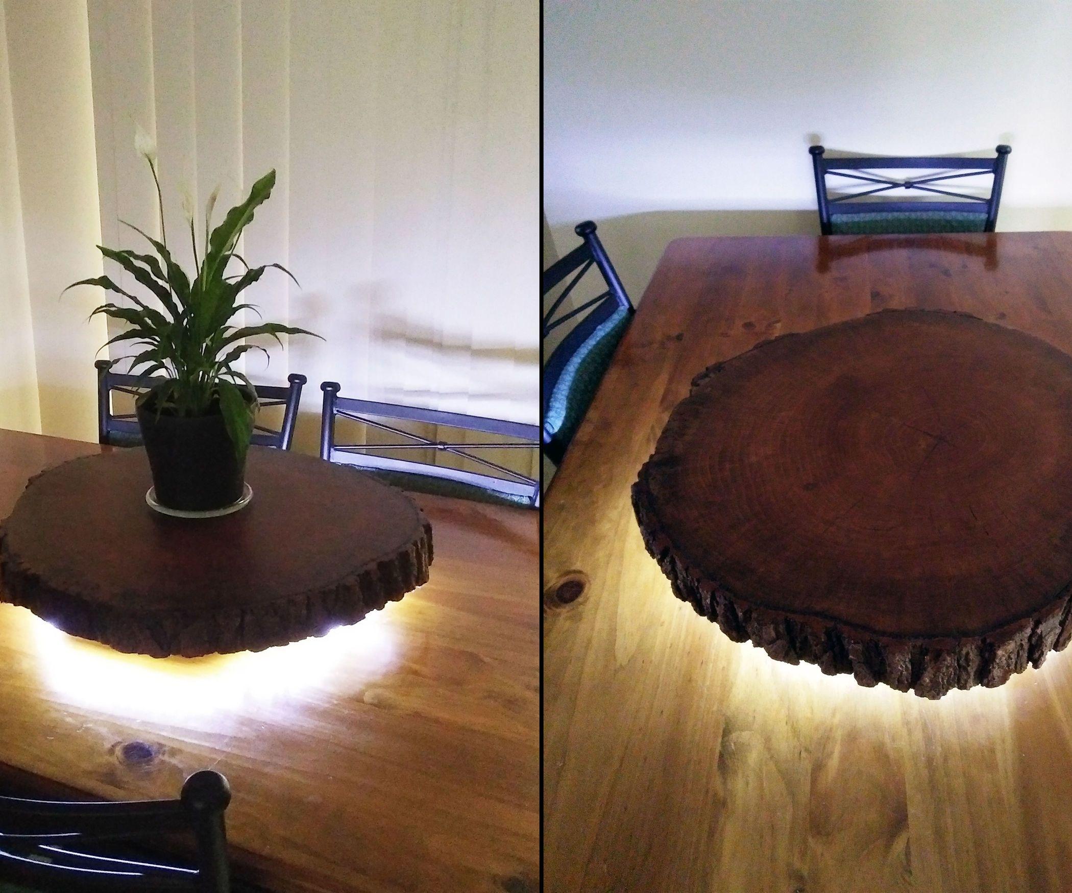 Rustic Live Edge Log Slice Lazy Susan With LED Lighting
