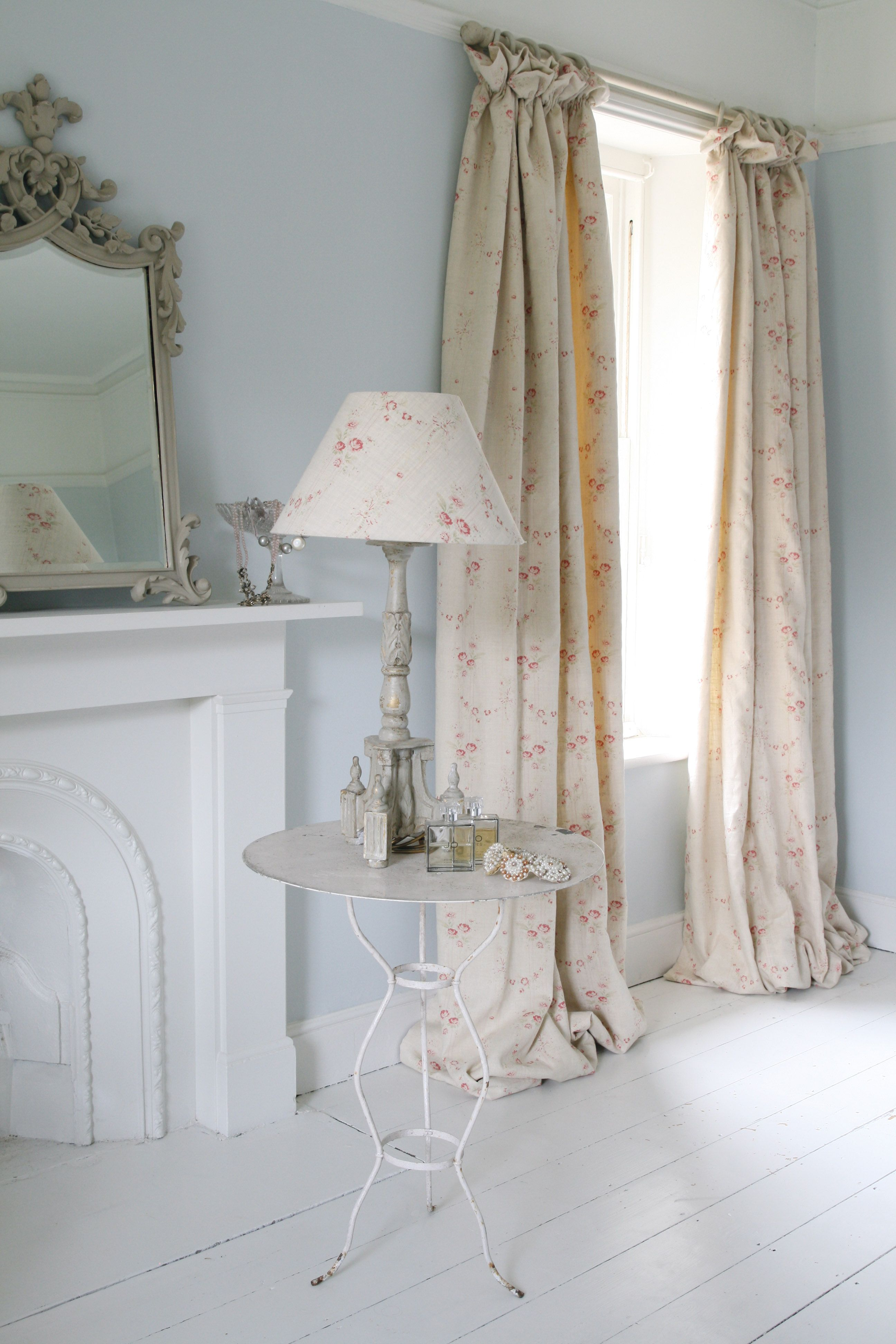 Gray curtains bedroom blue and white country shabby chic vintage decor white wood