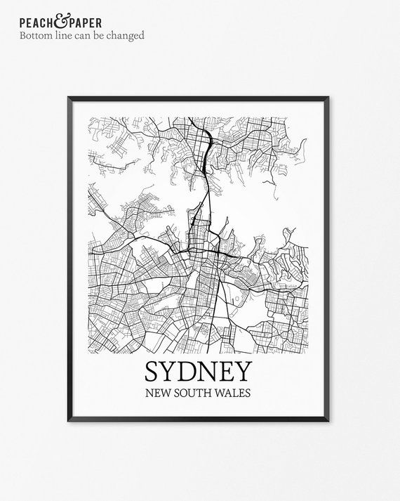 NSW Australia Wall Art Poster City Wall Decor SYDNEY Monochrome Map Print
