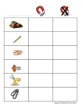 Magnet Worksheet Pre-K, K, 1 | Worksheets for kindergarten ...