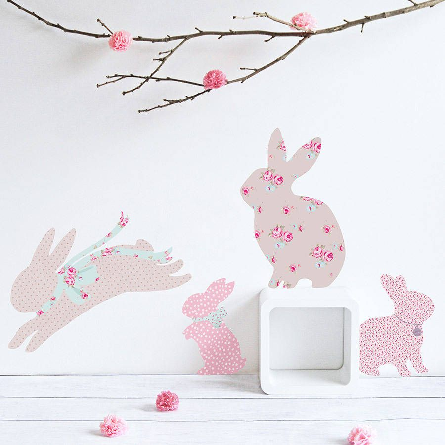 Vintage Floral Rabbit Wall Stickers Diy Baby Pinterest Wall