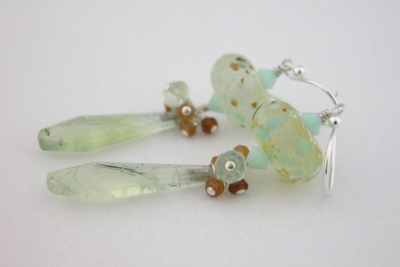Mint glass prehnite hessonite garnet #handmade #earrings @cserpentDesigns  SOLD