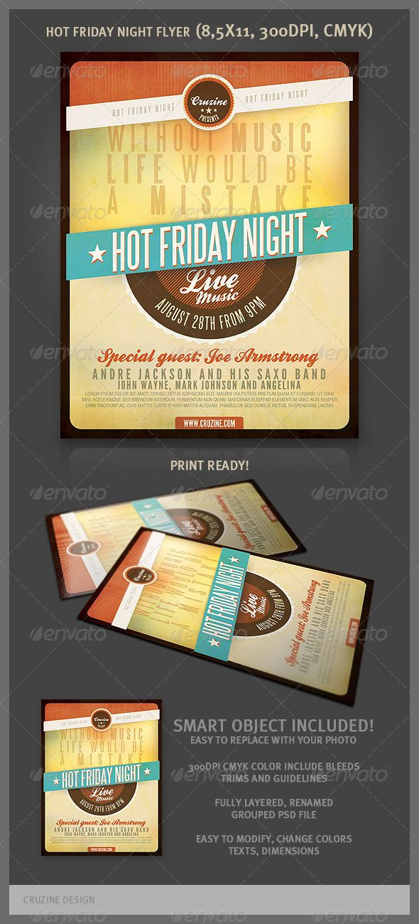 Hot Friday Night Flyer  Flyer Template Typography And Event