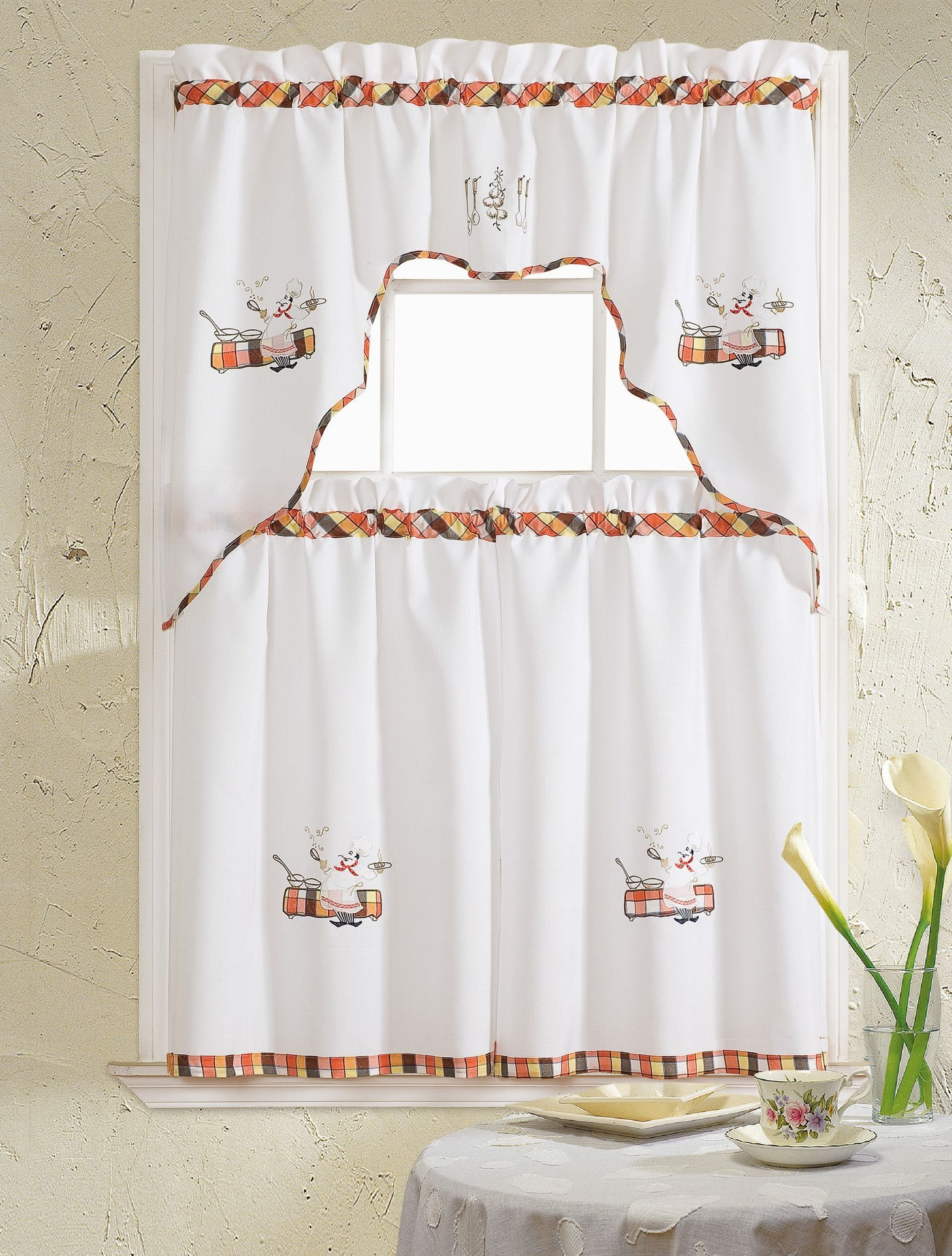 Grand chef embroidered ruffle kitchen curtain set valance x
