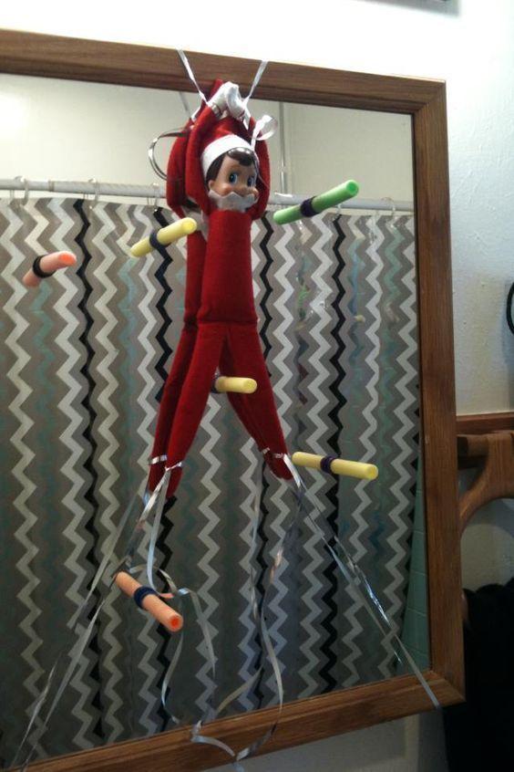 24 Sanity-Saving Elf On The Shelf Ideas - UrbanMoms , #Elf #Ideas #SanitySaving #Shelf #Urba...