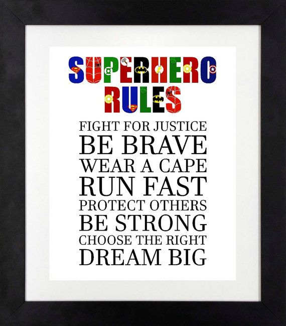 Superhero Rules Print // Superhero Wall Art // by NothingPanda