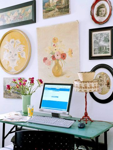 Vintage finds and old family photos become inexpensive wall art in a cottage-style home. See the rest of this vintage-chic cottage: http://www.bhg.com/decorating/decorating-style/flea-market/vintage-cottage-style/?socsrc=bhgpin062012#page=11
