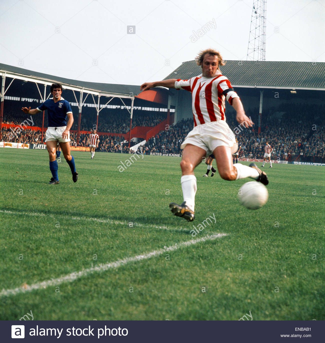 15th September 1970. Stoke City inside forward Jimmy Greenhoff about to shoot against Ipswich Town at the Victoria Ground.