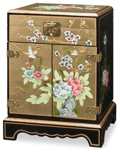 HandPainted Gold Jewelry Box asianjewelleryboxesandorganisers