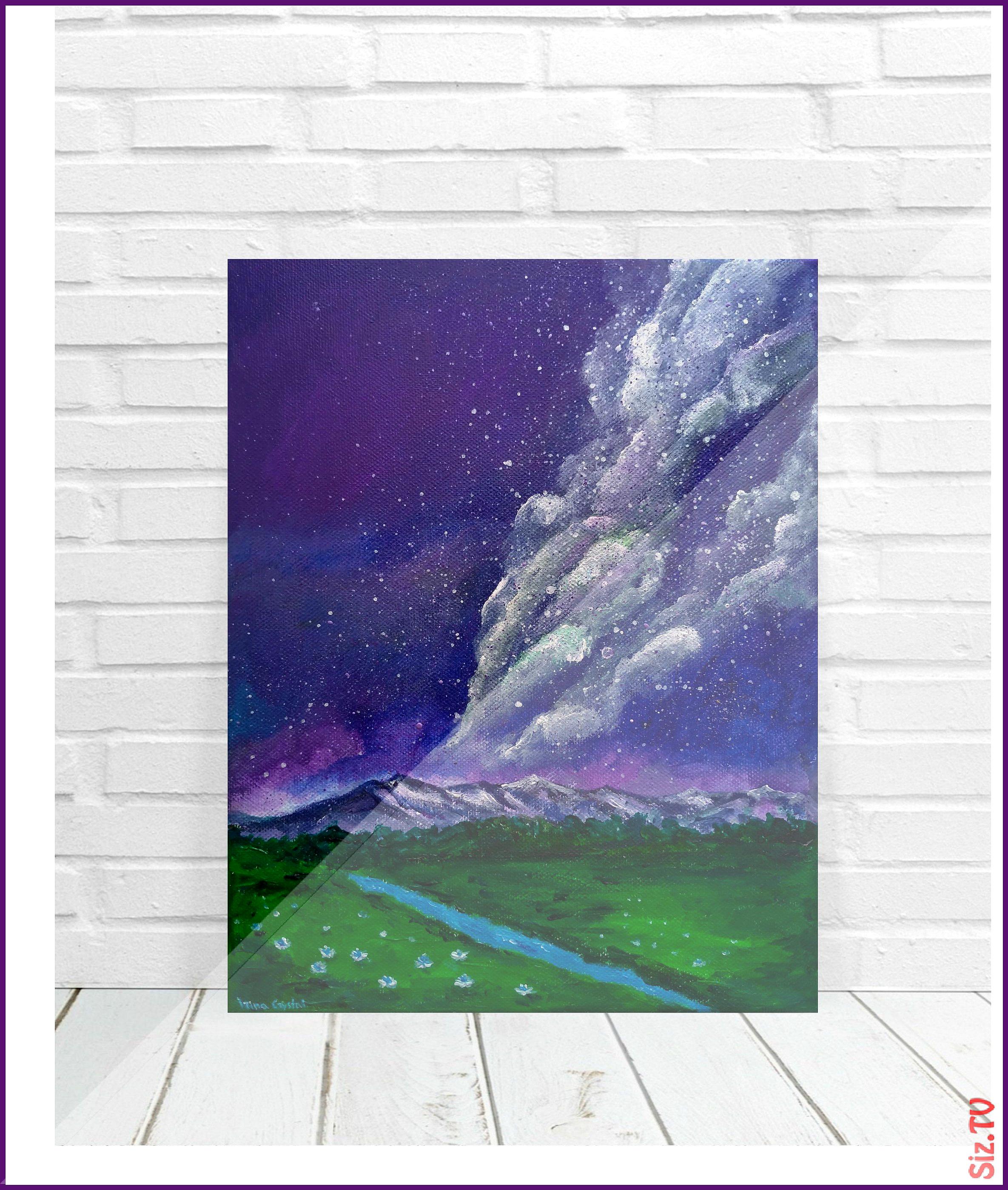Mountain Painting Original Art Mountain Landscape Original Painting Starry Sky Wildflowers Milky Way Night Sk Nature Paintings Mountain Paintings Adventure Art
