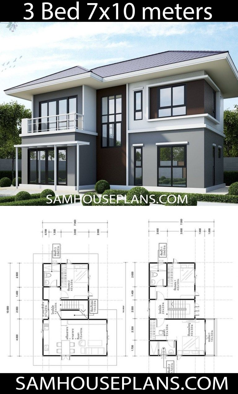 House Plans Idea 10x7 With 3 Bedrooms Sam House Plans Architectural House Plans House Front Design House Projects Architecture