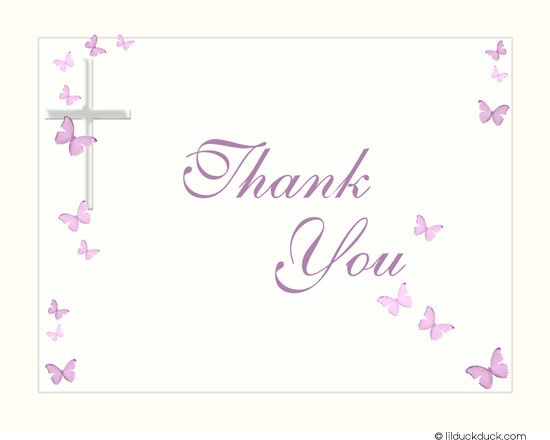 Religious Butterfly Thank You Card - Personalize Cross Pink - butterfly thank you cards