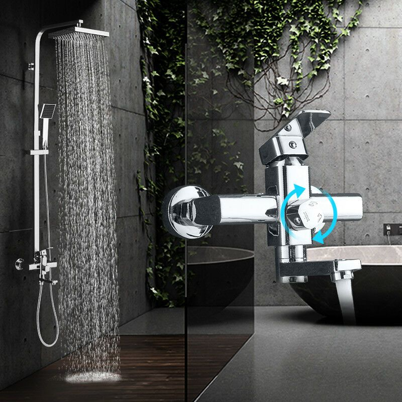 Chrome Wall Mounted Bathroom Shower Faucet Tub Faucet Hand Shower