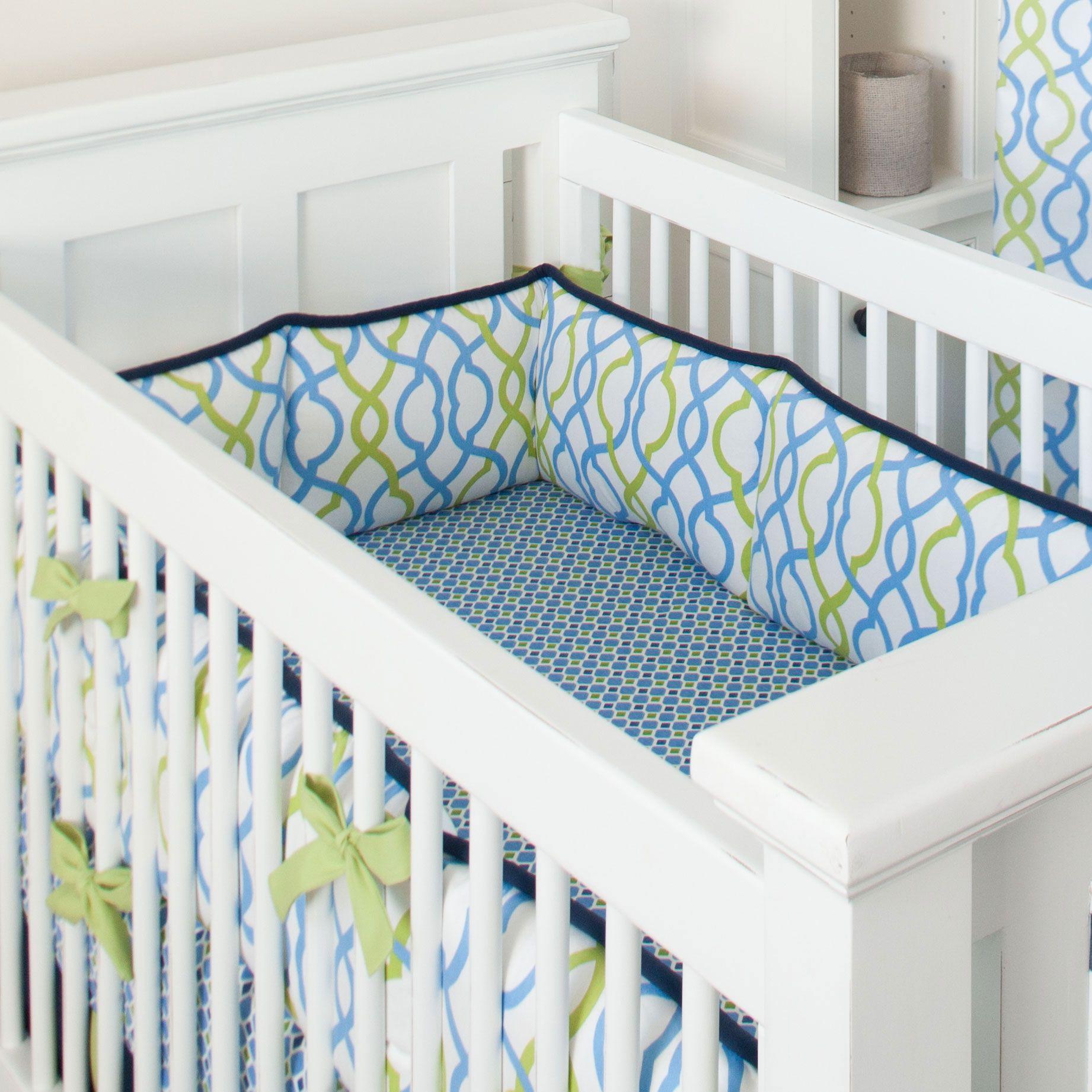 Navy waves crib bumper cunas bebe