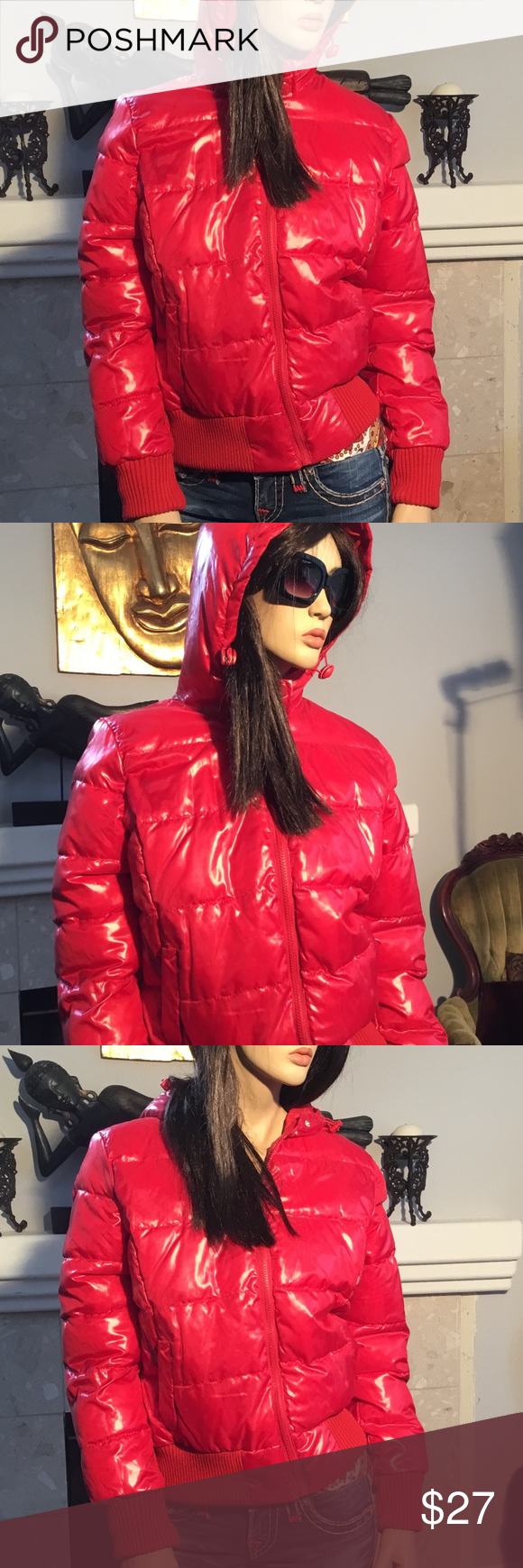 Aeropostale Red Puffer Jacket Coat Hood L T241 Red Puffer Jacket Hooded Coat Puffer Jackets [ 1740 x 580 Pixel ]