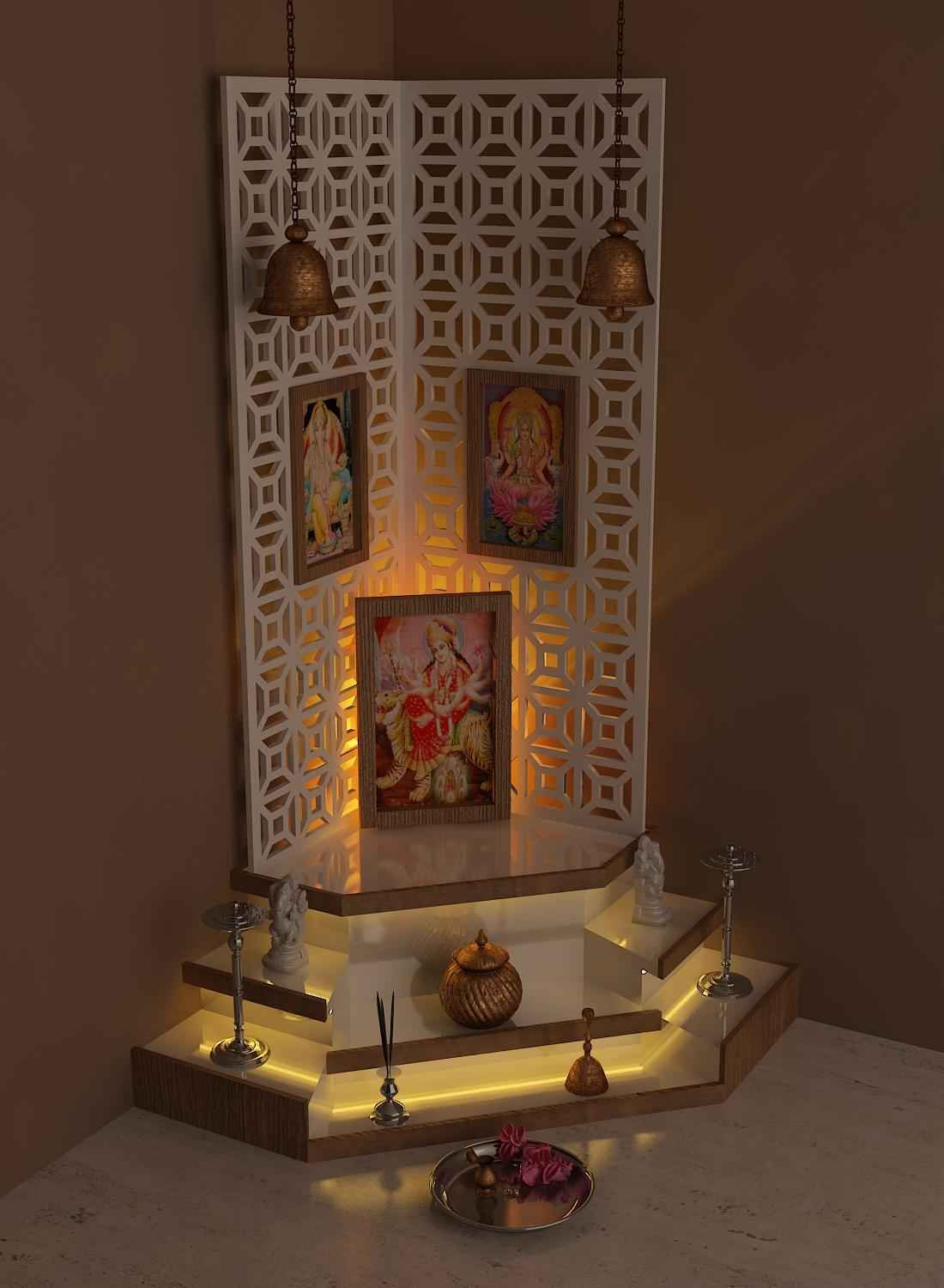 This simple pooja room design is highlighted by an elegant ...