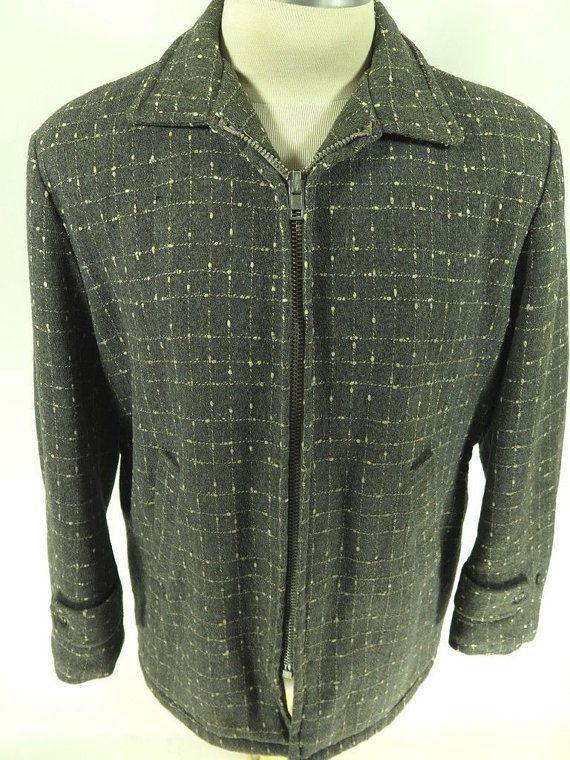 Vtg 50s Hall American Sportswear Wool Car Coat 44 Fleece Lined ...