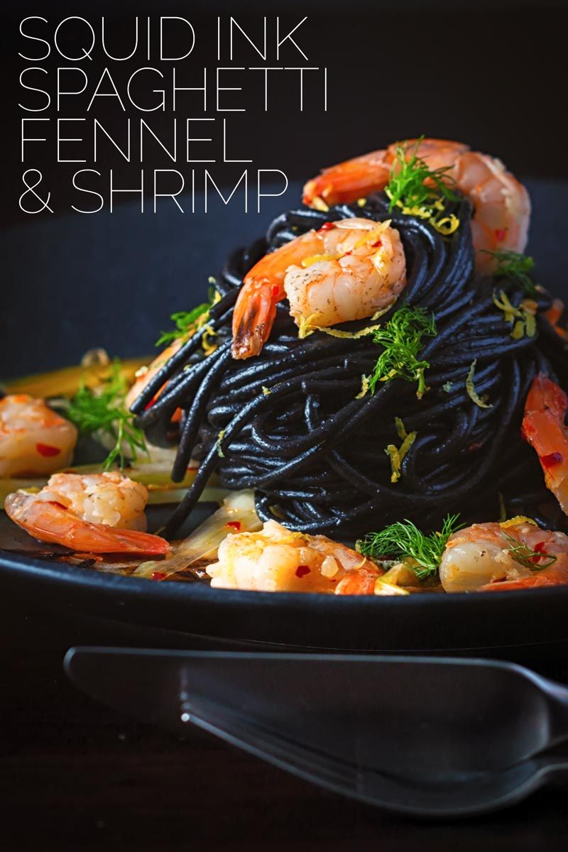 Squid Ink Pasta with Prawns Fennel & Chilli