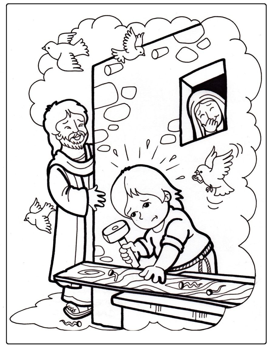 Jesus Growing Up Sunday School Coloring Pages Jesus Childhood