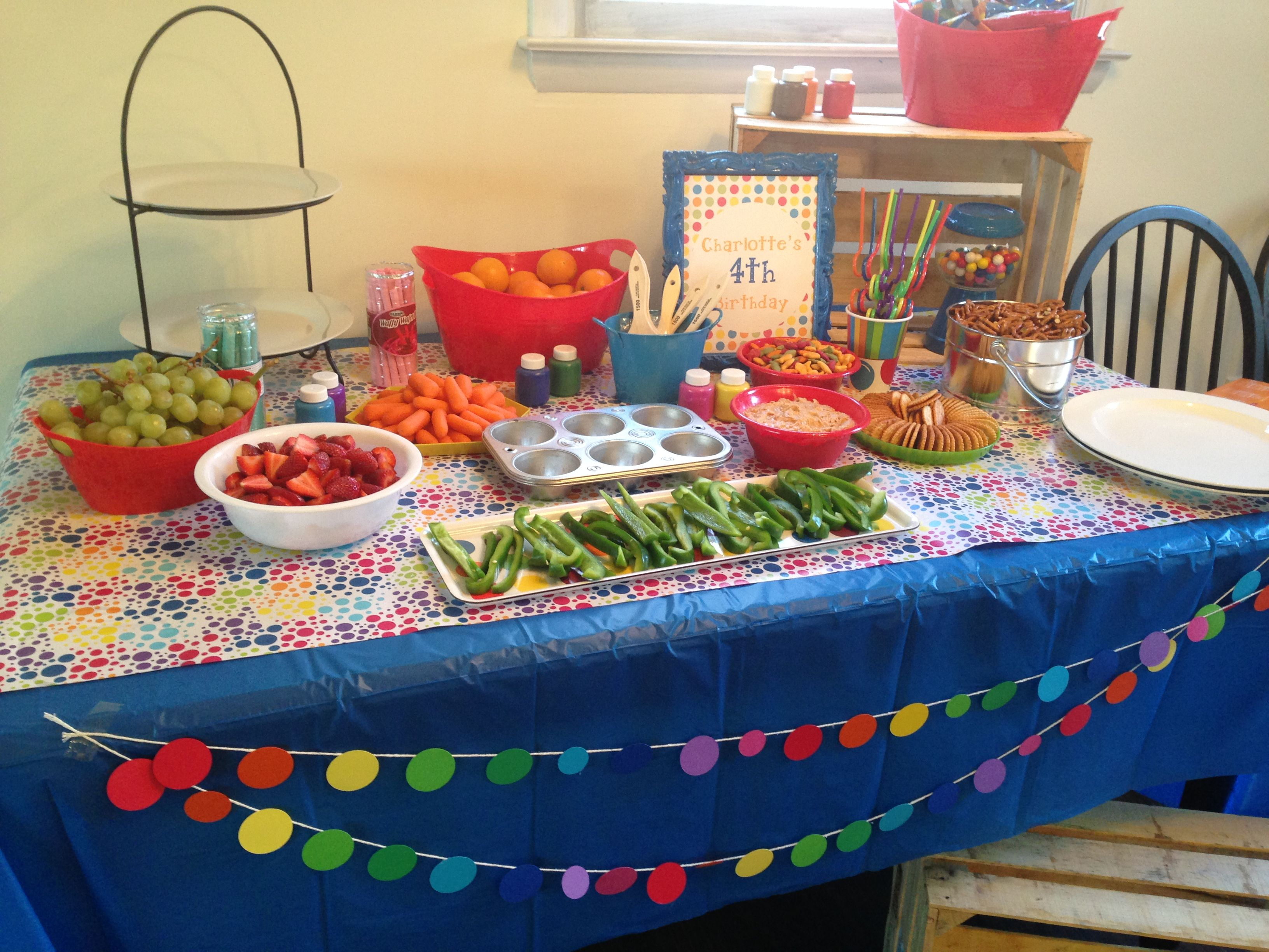 rainbow party snack table we tried to have various colors red