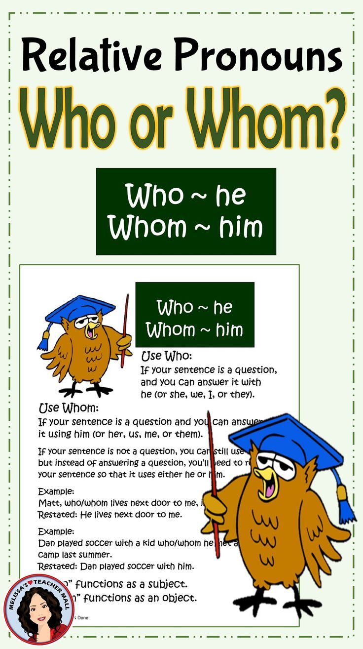 Who Whom Relative Pronouns Anchor Chart Center Activity Task Cards