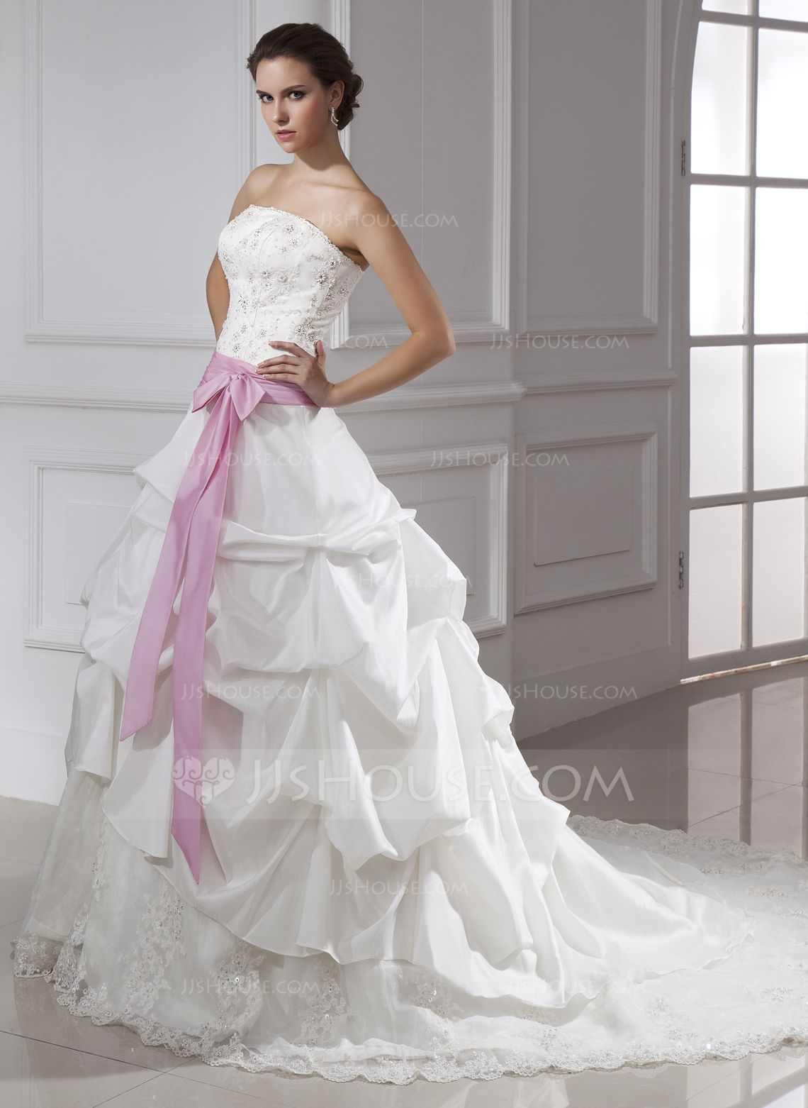 Cathedral wedding dress  BallGown Strapless Cathedral Train Taffeta Tulle Wedding Dress With