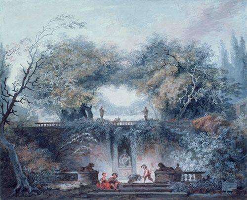 Jean-Honoré Fragonard (1732-1806), Interior of a Park: The Gardens of Villa d'Este, Gouache on vellum, Thaw Collection, The Morgan Library & Museum; 1997.85.