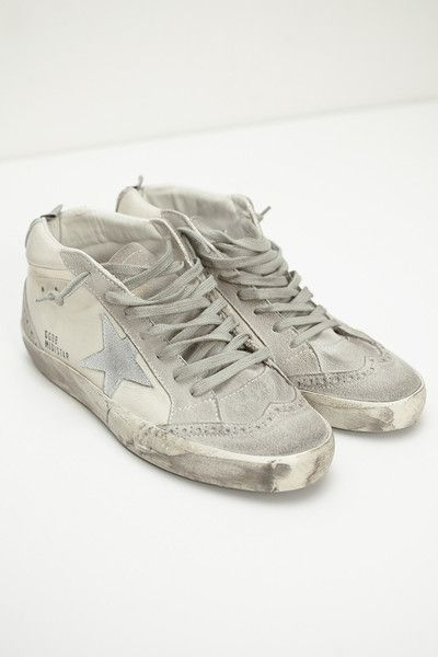 White and Silver Mid Star Sneaker by Golden Goose | shopheist.com
