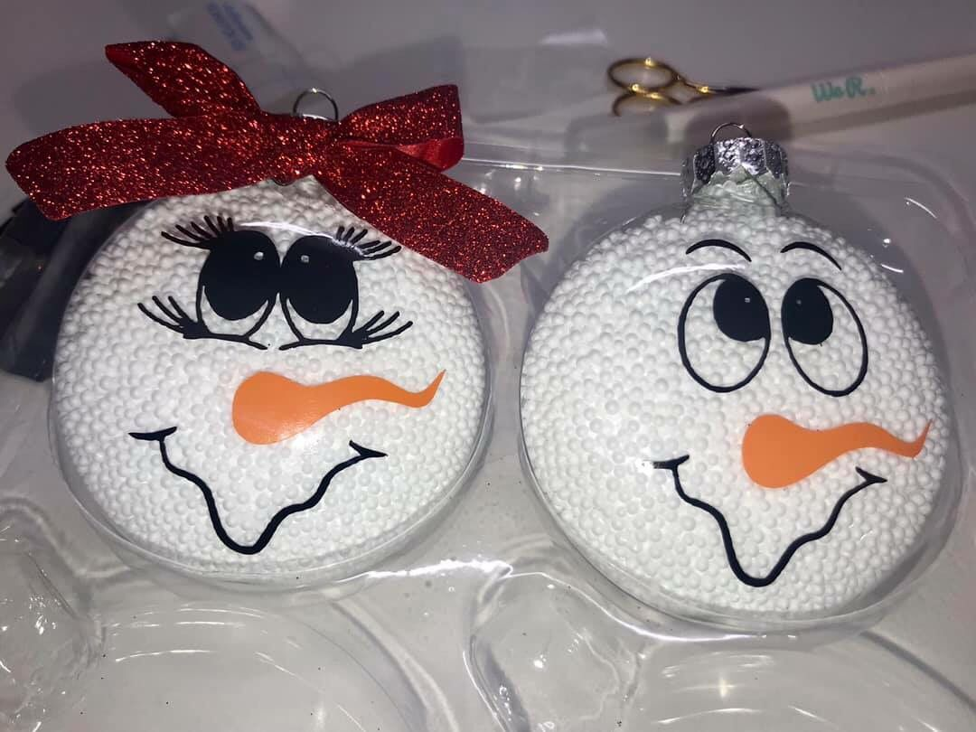 Snowman Snow Woman Ornament Christmas Glitter Ornaments Christmas Ornaments Homemade Christmas Crafts For Gifts