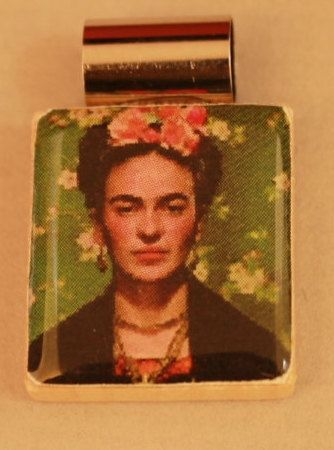 Frieda Kahlo image on recycled Scrabble tile by BeadyEyedBird, $15.00