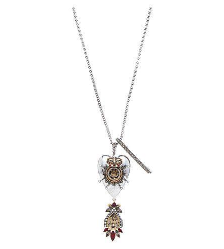 ALEXANDER MCQUEEN Heart Trinket Brass Necklace. #alexandermcqueen #necklaces