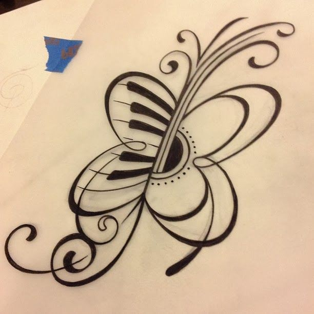 guitar and butterfly tattoos | Music butterfly tattoo