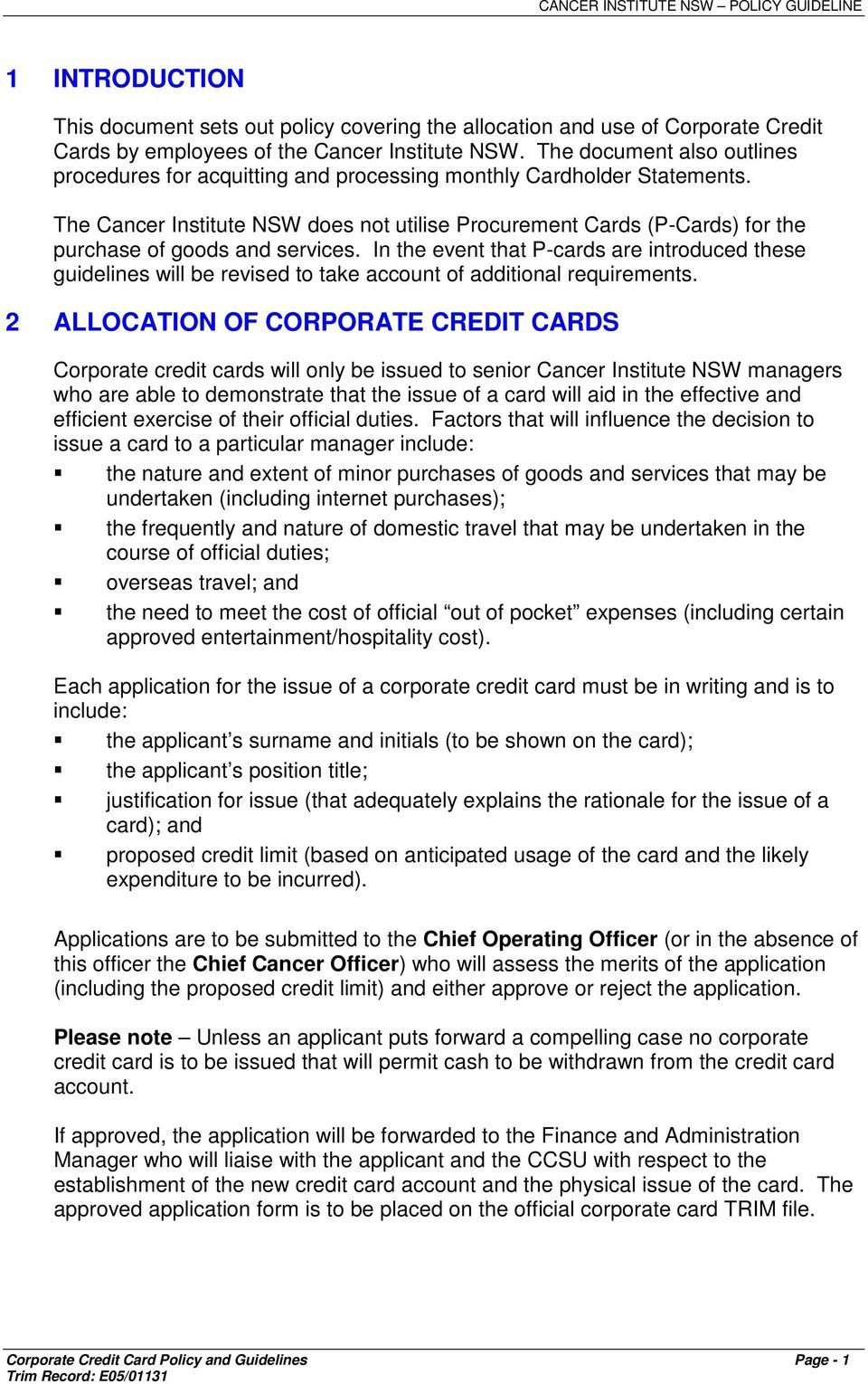 Corporate Credit Card Policy Guidelines Pdf Free Download Inside Corporate Credit Card Agreemen Corporate Credit Card Policy Template Credit Card Companies