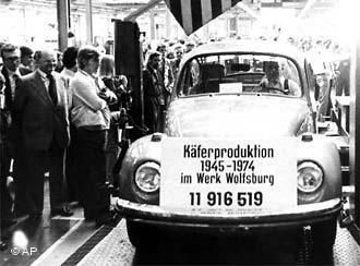 1974: In July, the last Beetle was produced in the Wolfsburg Factory. (no 11 916 519 )