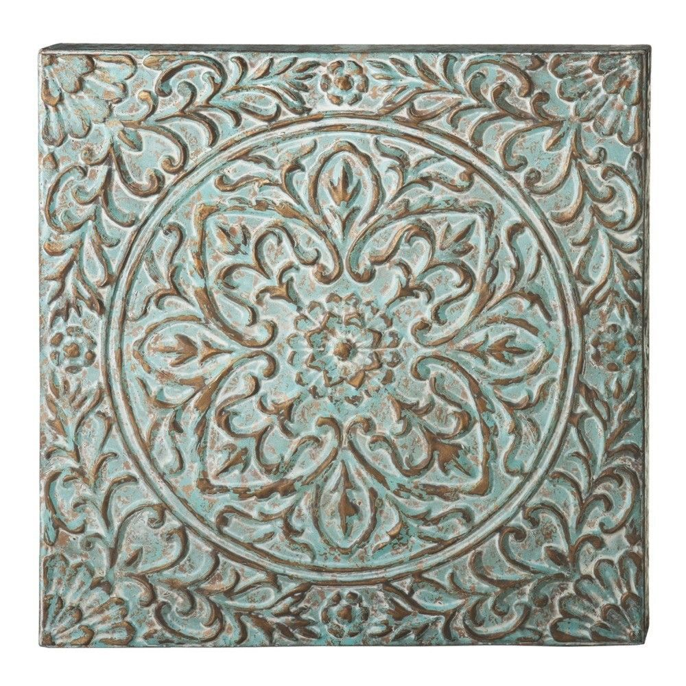 Victory distressed blue flower wall décor drawing painting