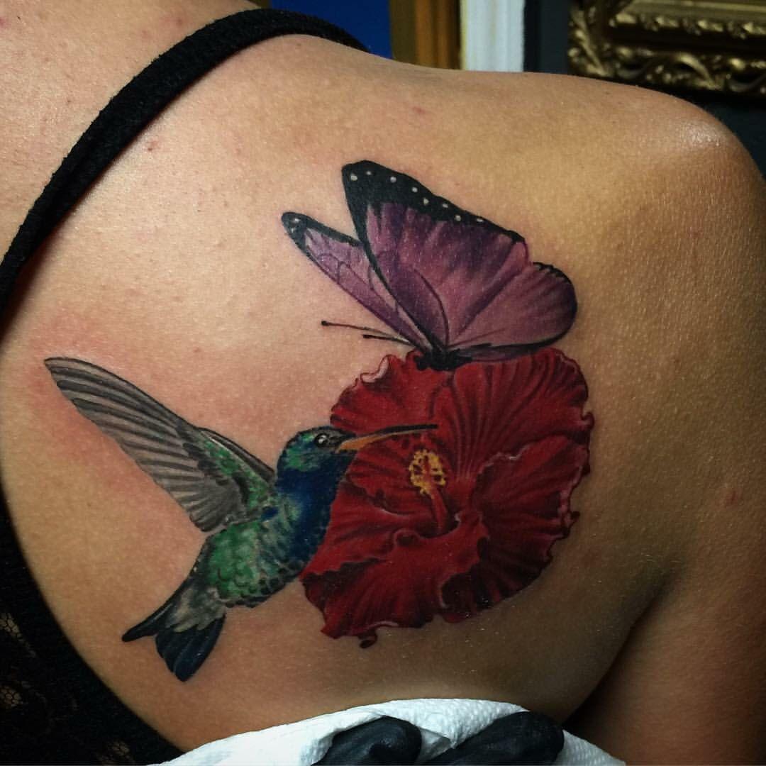Hummingbird butterfly flower tattoo Hummingbird flower