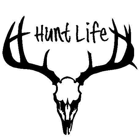 Hunt Life Deer Hunting Hunter Antler Skull Truck Window Decal - Window stickers for trucks hunting