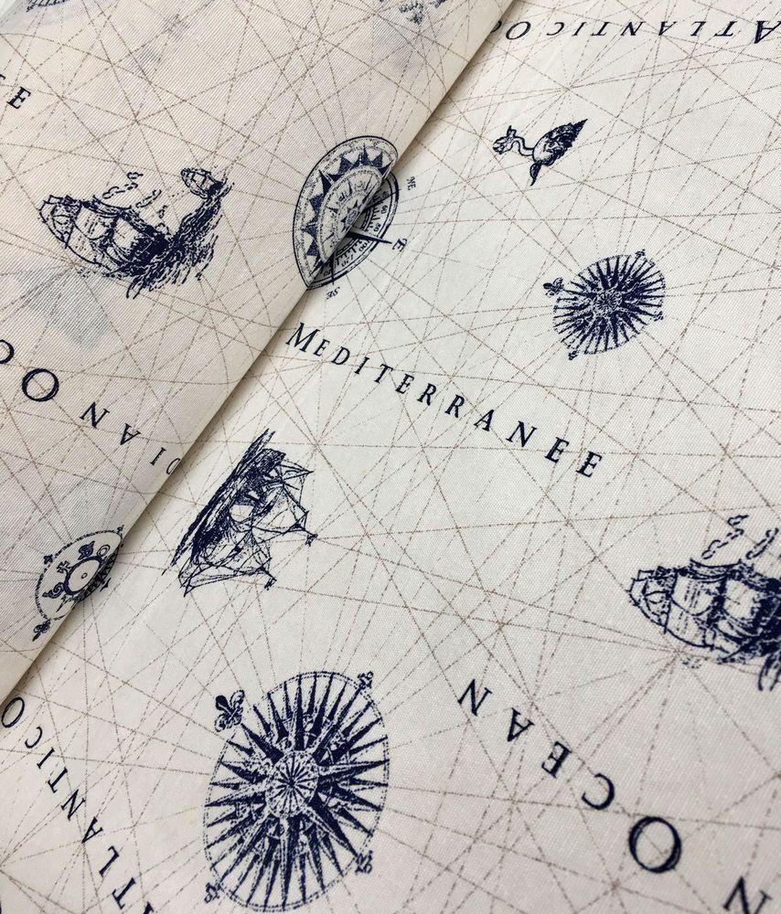 Badezimmer ideen marine details zu nautical marine map print fabric  curtain upholstery