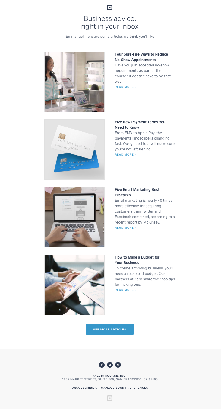 Square layout modules simple email pinterest layouts