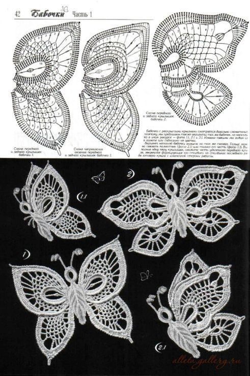 Patron mariposas | Häkeln | Pinterest | Crochet, Irish crochet und ...