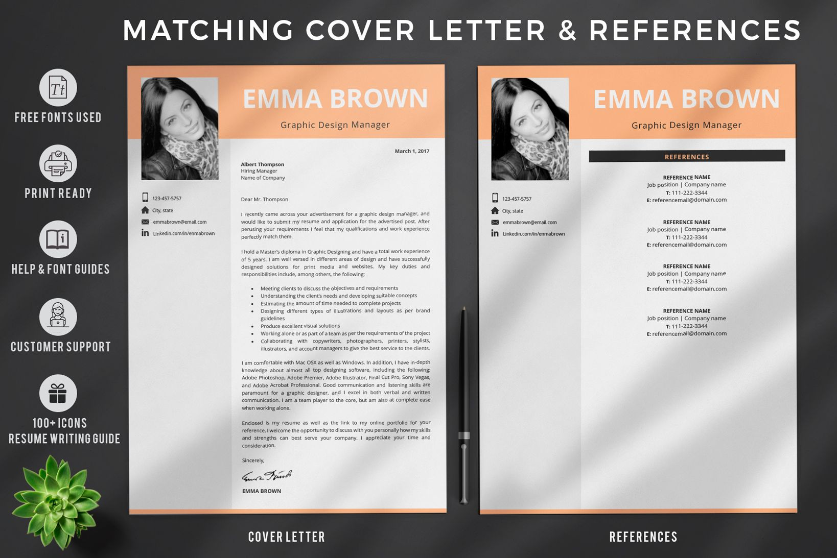 Creative Resume Templates For Ms Word And Mac Pages Professional Resume Templates And Matching Co Resume Design Template Creative Resume Templates Cv Template