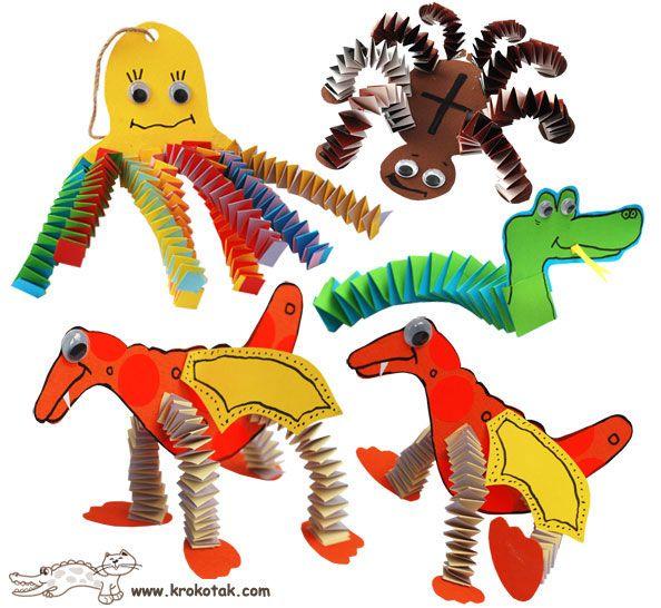folded paper toys  www.krokotak.com   best craft site, free templates