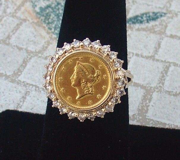 14k Ring Authentic 1850 One Dollar Liberty Head 90 Gold Coin Diamond Size 7 Gold Coin Jewelry Coin Jewelry Diamond Sizes
