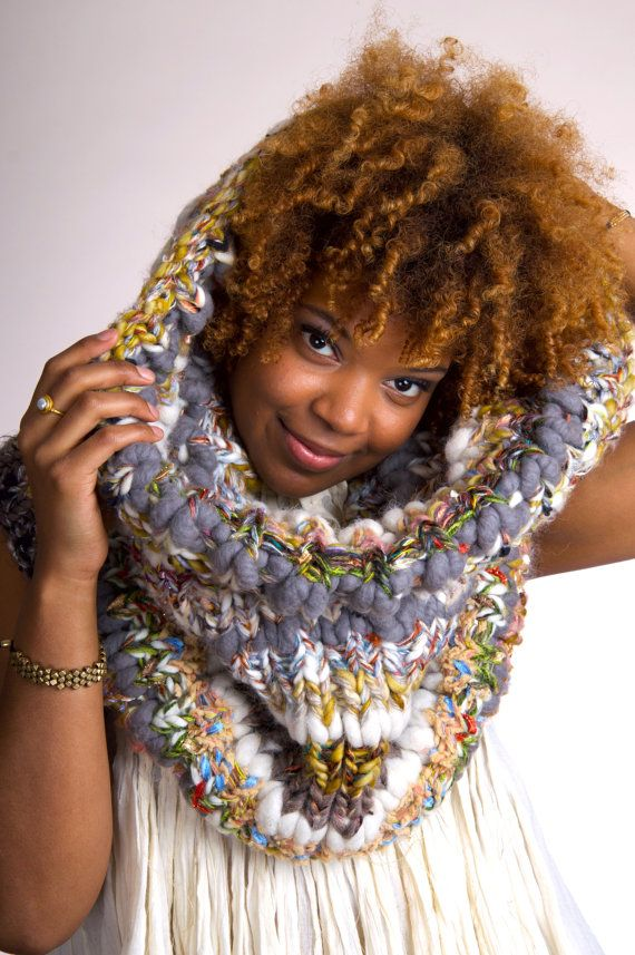 Blanket Scarf Chunky Knit Scarf Knit Infinity Scarf by PlushArmour ...